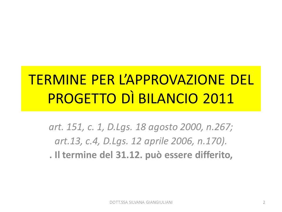 TERMINE PER L'APPROVAZIONE DEL PROGETTO DÌ BILANCIO 2011