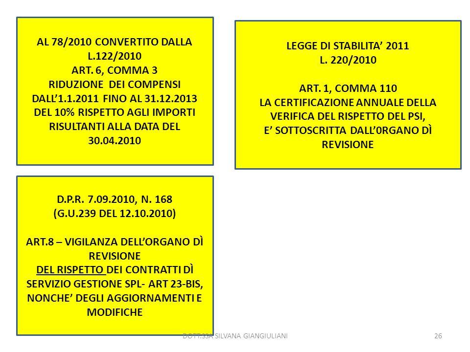 AL 78/2010 CONVERTITO DALLA L.122/2010 ART. 6, COMMA 3