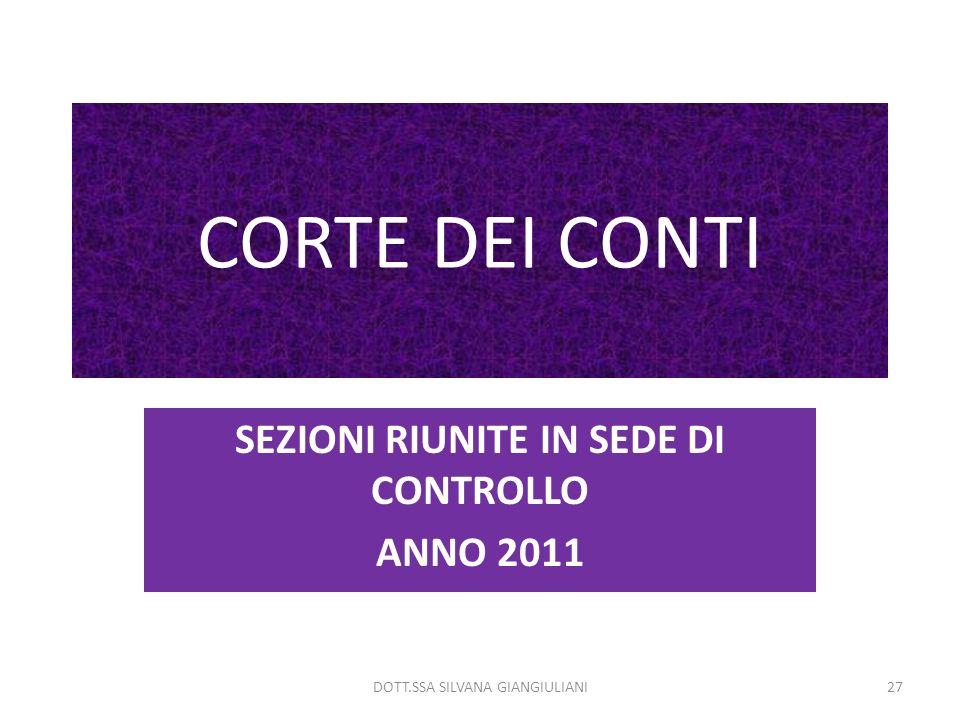 SEZIONI RIUNITE IN SEDE DI CONTROLLO ANNO 2011