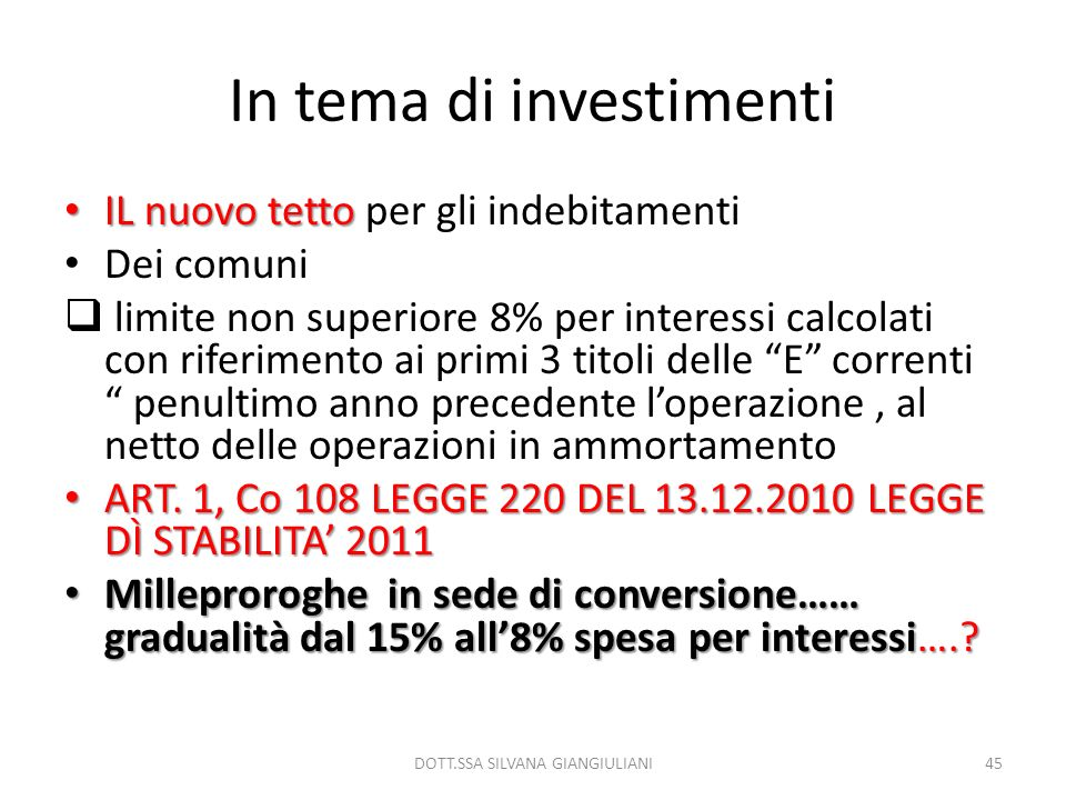 In tema di investimenti
