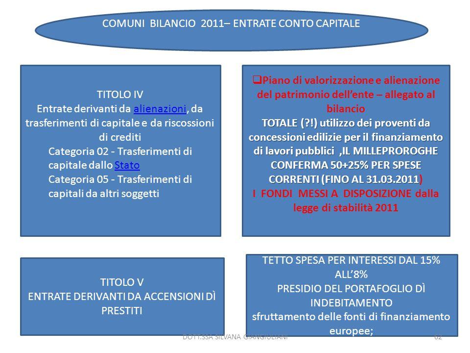 I FONDI MESSI A DISPOSIZIONE dalla legge di stabilità 2011