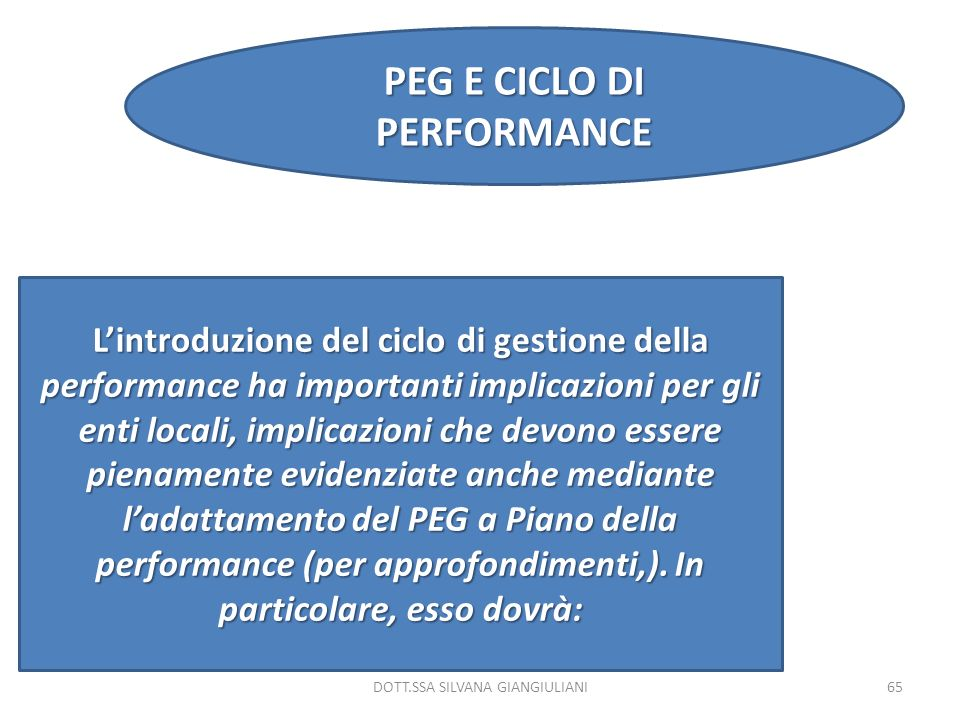 PEG E CICLO DI PERFORMANCE