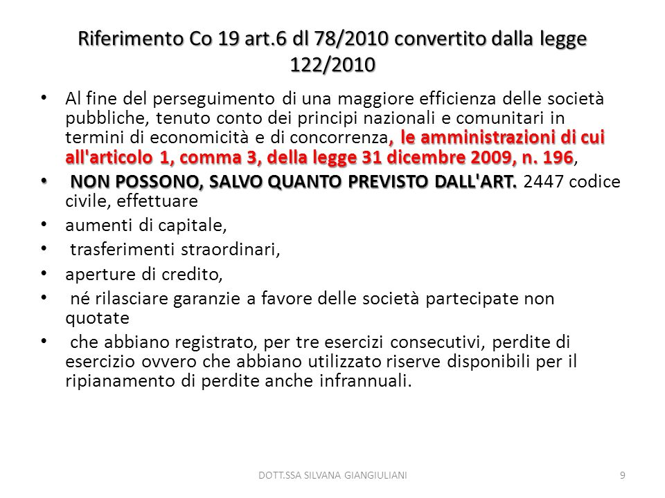 Riferimento Co 19 art.6 dl 78/2010 convertito dalla legge 122/2010