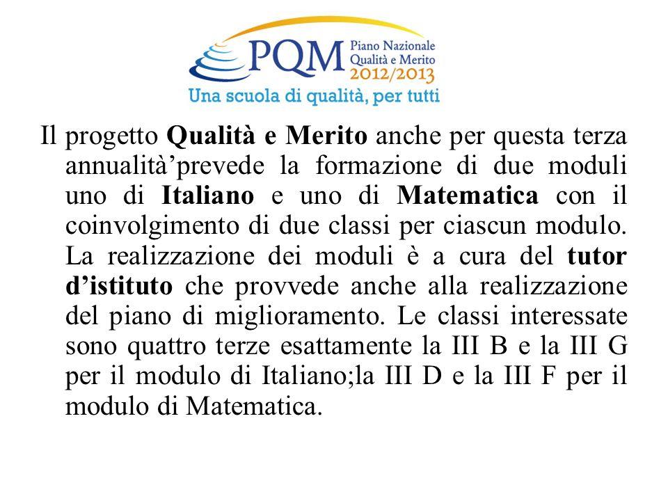 Il progetto Qualità e Merito anche per questa terza annualità'prevede la formazione di due moduli uno di Italiano e uno di Matematica con il coinvolgimento di due classi per ciascun modulo.