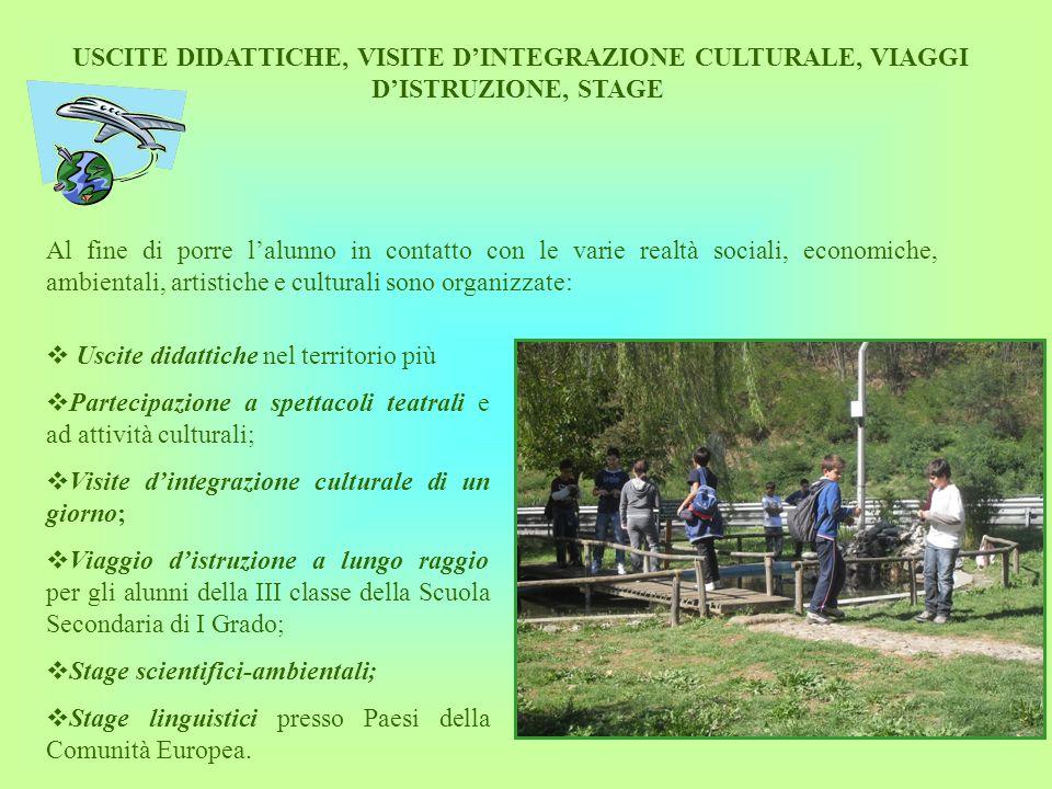 USCITE DIDATTICHE, VISITE D'INTEGRAZIONE CULTURALE, VIAGGI D'ISTRUZIONE, STAGE