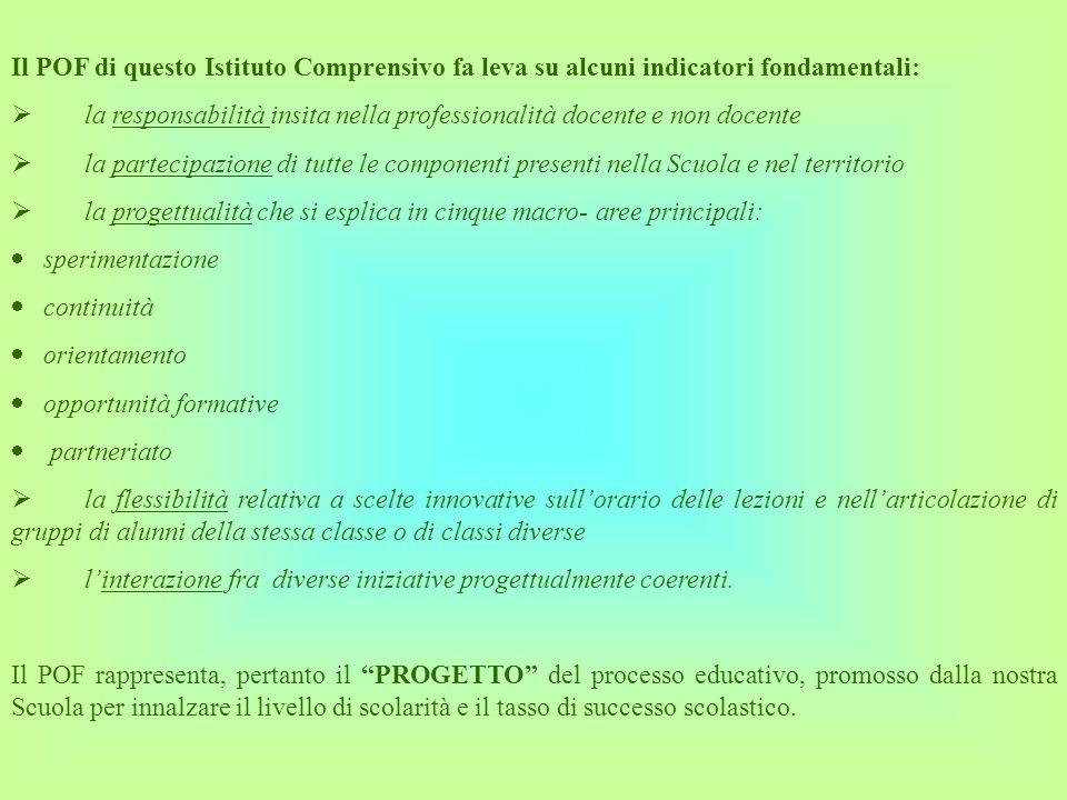 Il POF di questo Istituto Comprensivo fa leva su alcuni indicatori fondamentali: