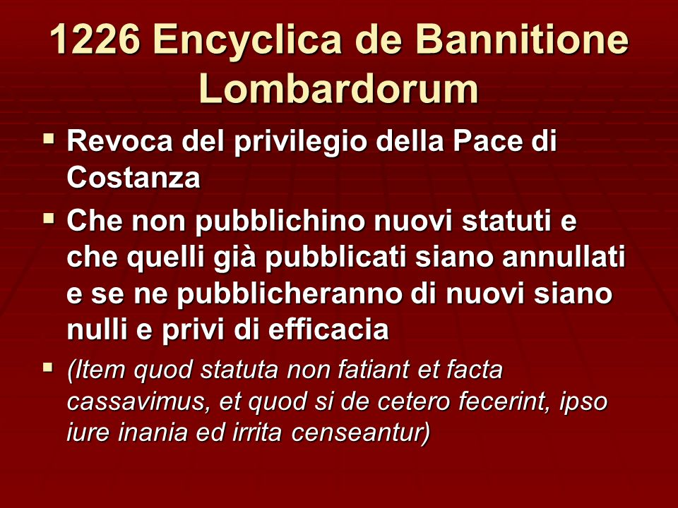 1226 Encyclica de Bannitione Lombardorum