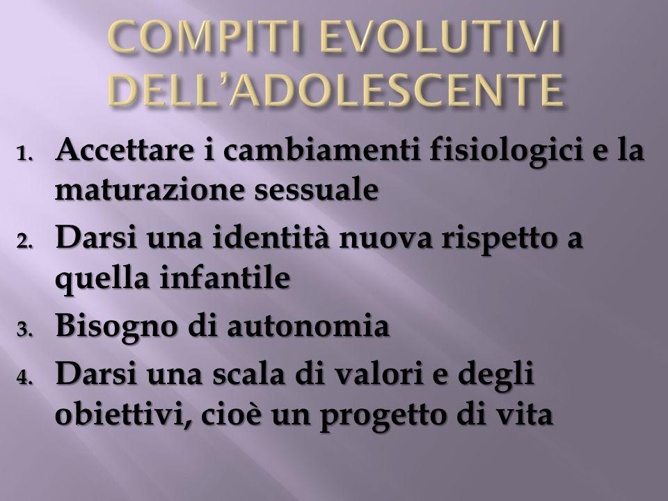 COMPITI EVOLUTIVI DELL'ADOLESCENTE