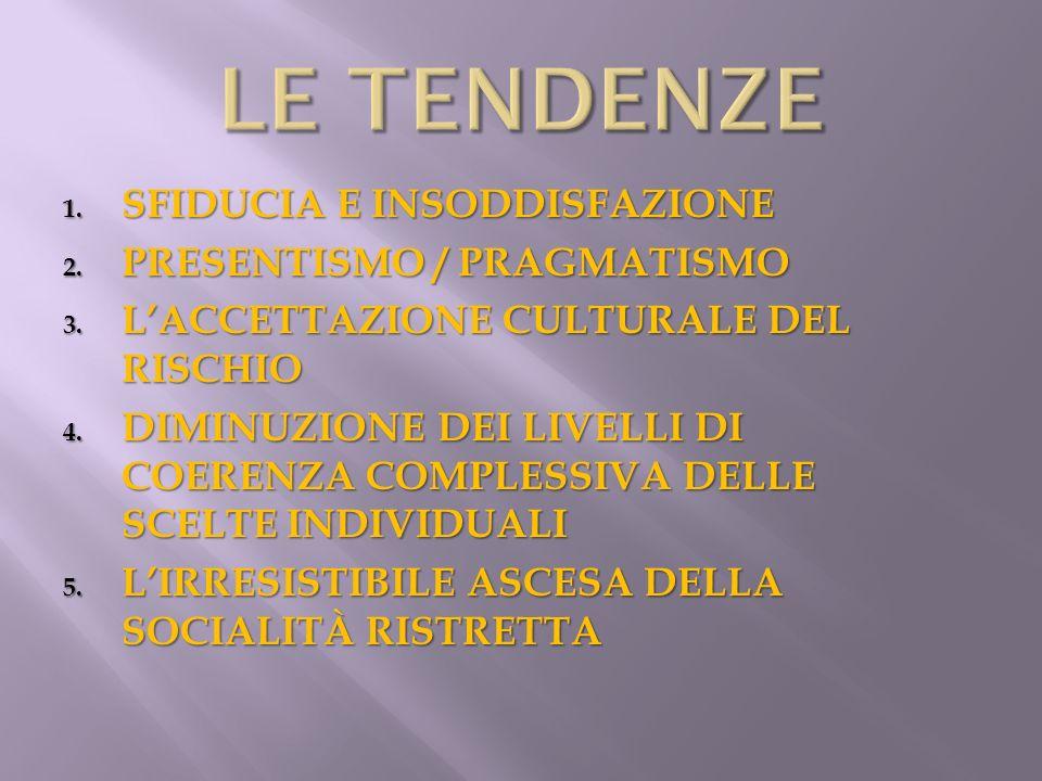 LE TENDENZE SFIDUCIA E INSODDISFAZIONE PRESENTISMO / PRAGMATISMO