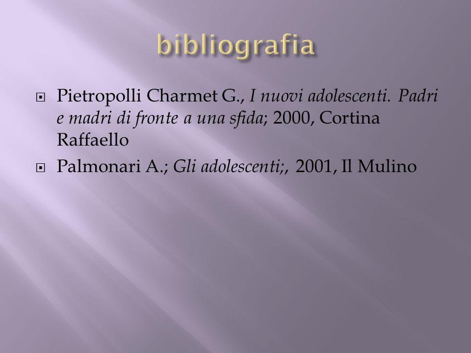 bibliografia Pietropolli Charmet G., I nuovi adolescenti. Padri e madri di fronte a una sfida; 2000, Cortina Raffaello.