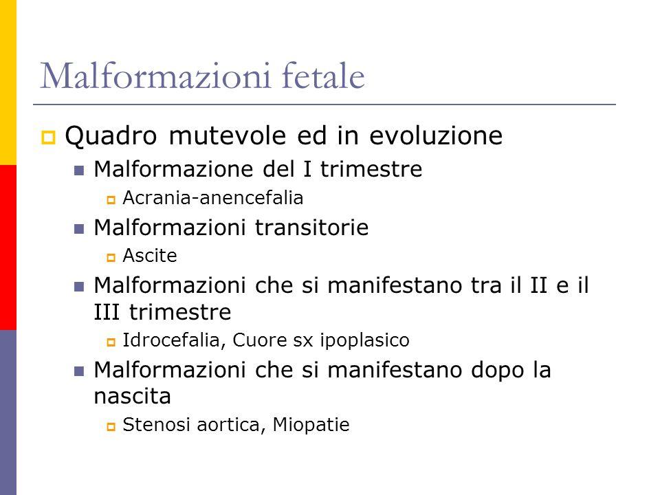 Malformazioni fetale Quadro mutevole ed in evoluzione