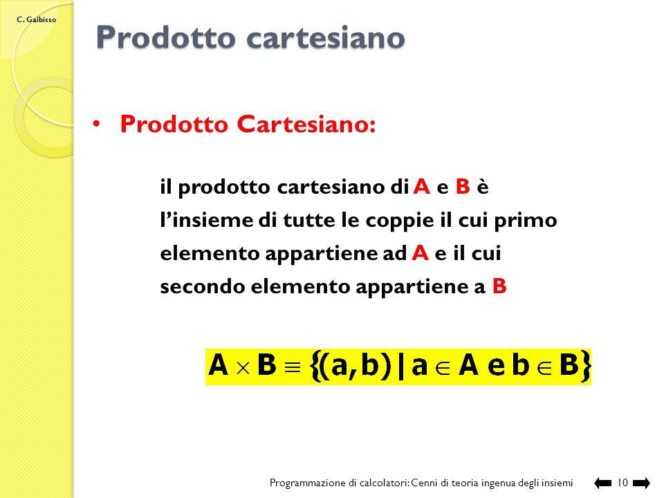Prodotto cartesiano Prodotto Cartesiano: