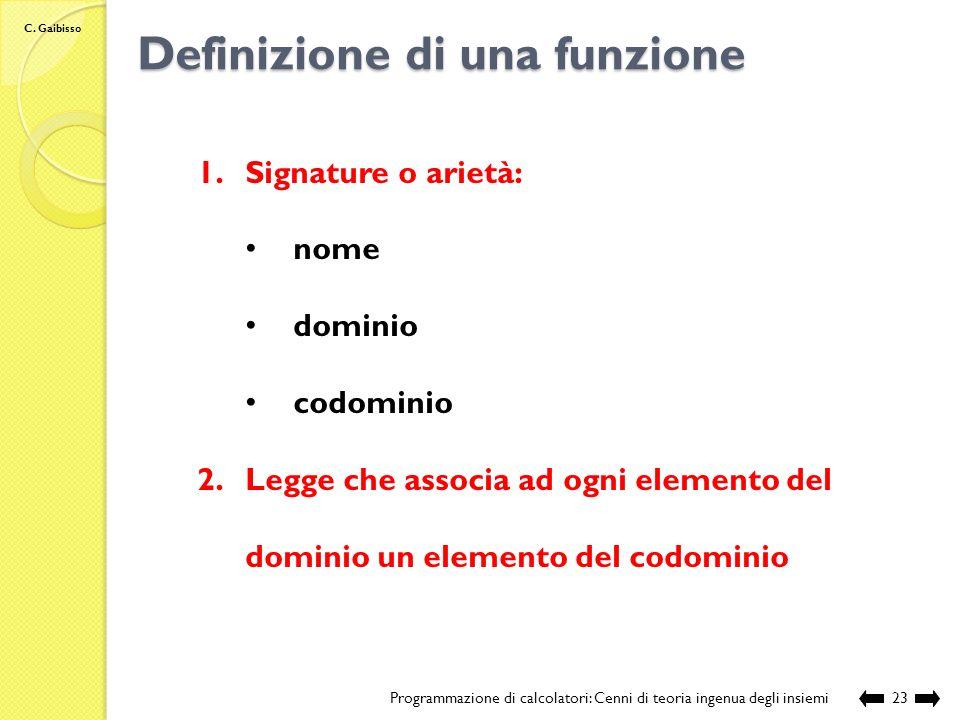 Definizione di una funzione