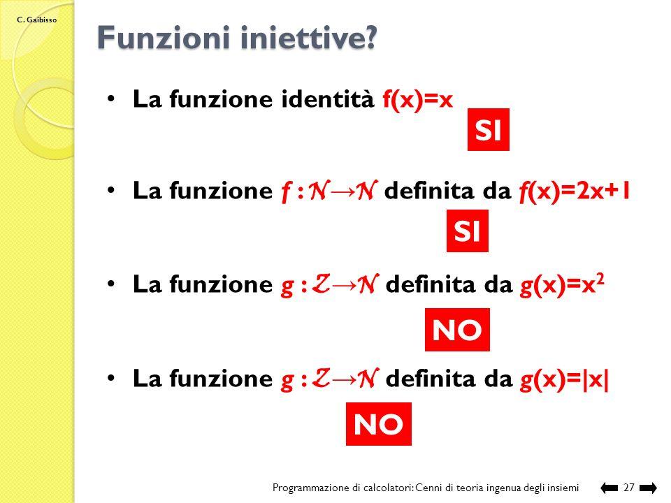 Funzioni iniettive SI SI NO NO La funzione identità f(x)=x