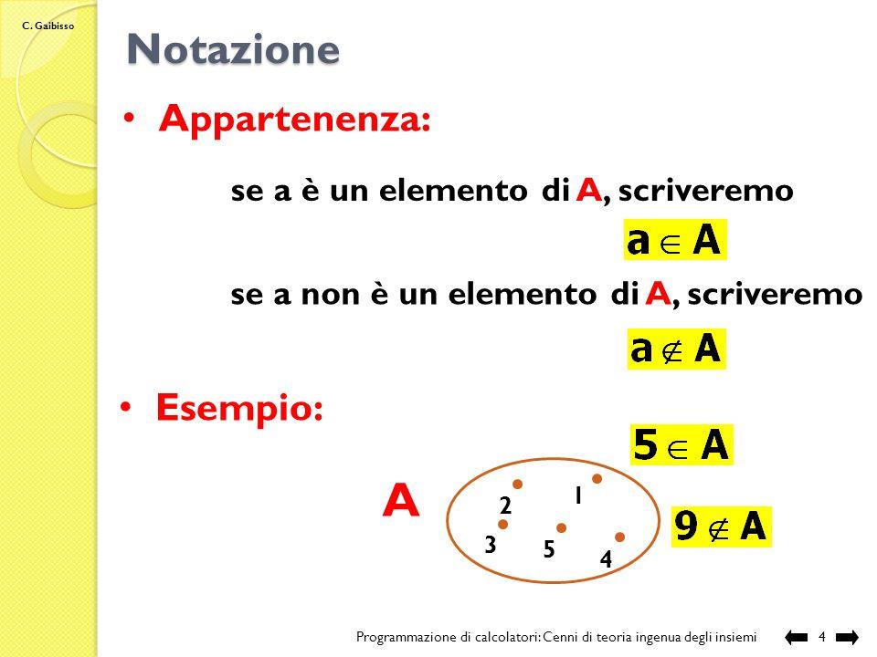 A Notazione Appartenenza: Esempio: se a è un elemento di A, scriveremo