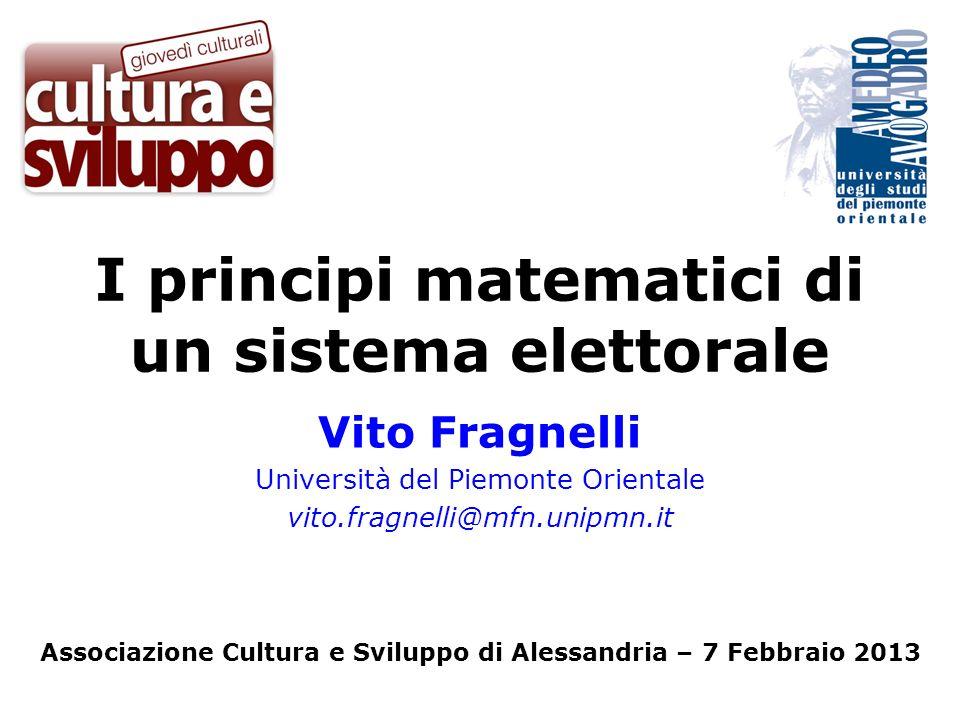I principi matematici di un sistema elettorale
