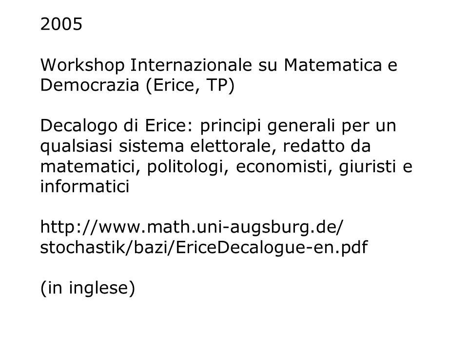 2005 Workshop Internazionale su Matematica e Democrazia (Erice, TP) Decalogo di Erice: principi generali per un qualsiasi sistema elettorale, redatto da matematici, politologi, economisti, giuristi e informatici http://www.math.uni-augsburg.de/ stochastik/bazi/EriceDecalogue-en.pdf (in inglese)
