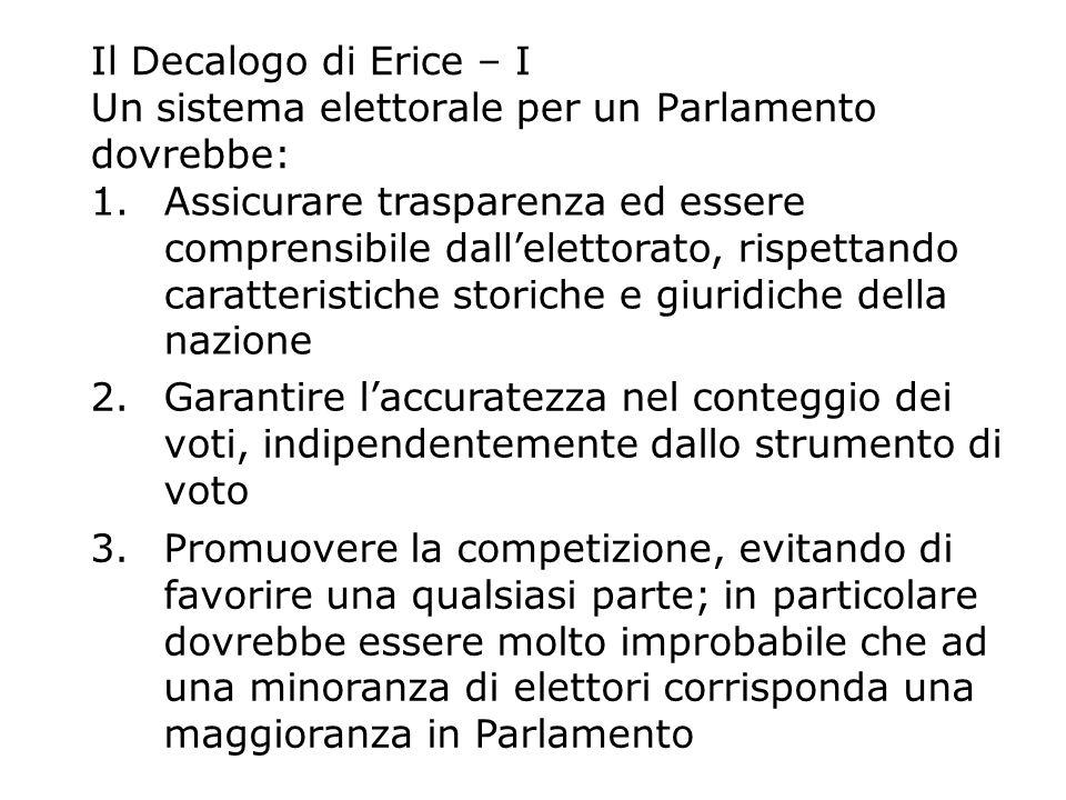 Il Decalogo di Erice – I Un sistema elettorale per un Parlamento dovrebbe: