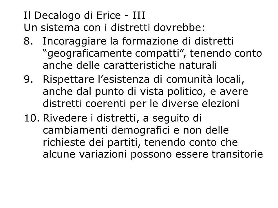 Il Decalogo di Erice - III Un sistema con i distretti dovrebbe: