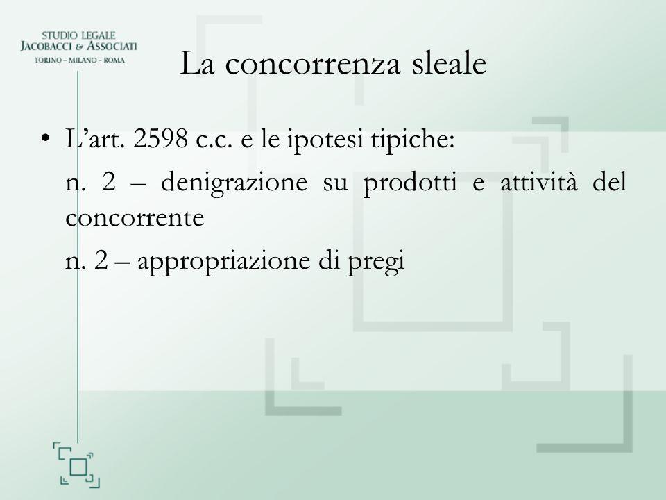 La concorrenza sleale L'art. 2598 c.c. e le ipotesi tipiche: