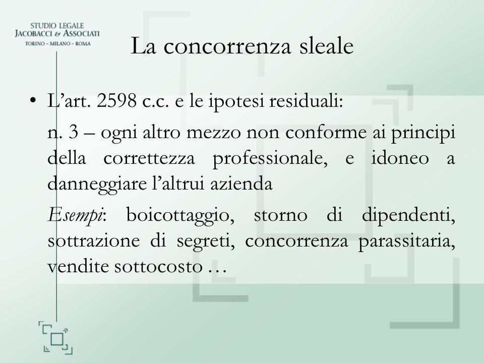 La concorrenza sleale L'art. 2598 c.c. e le ipotesi residuali: