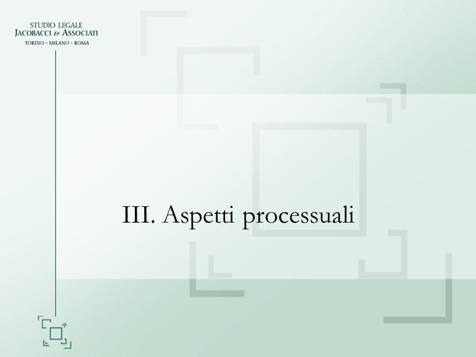III. Aspetti processuali