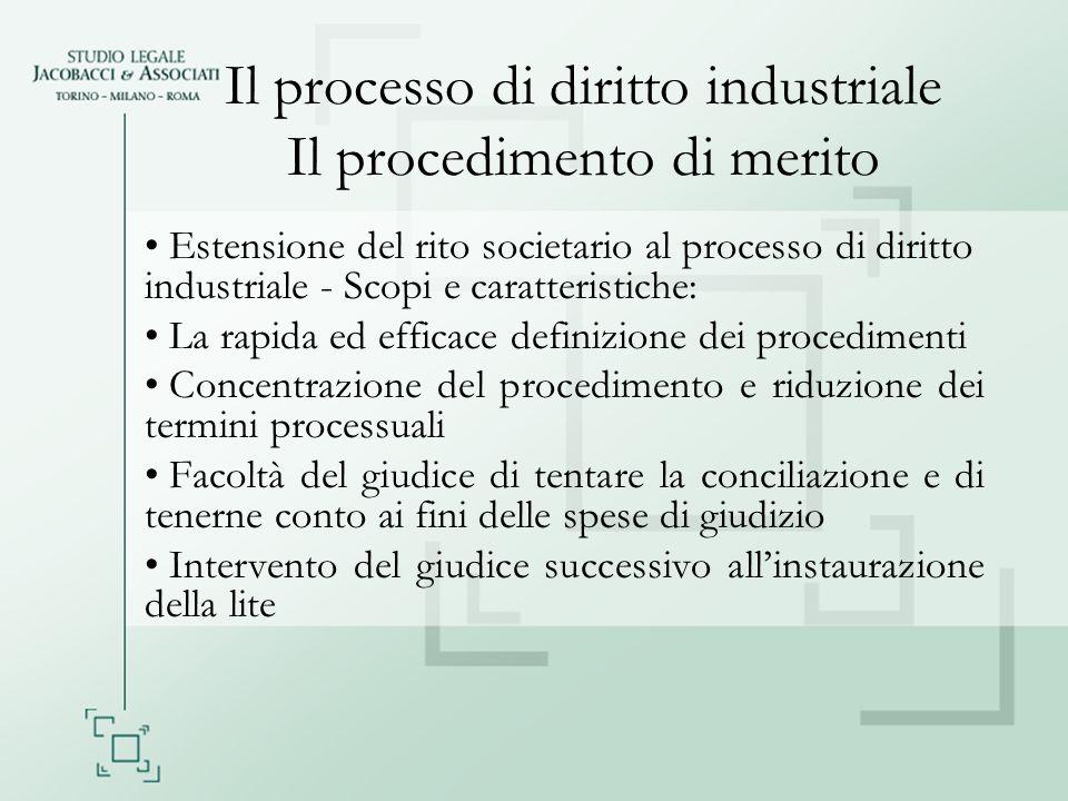Il processo di diritto industriale Il procedimento di merito