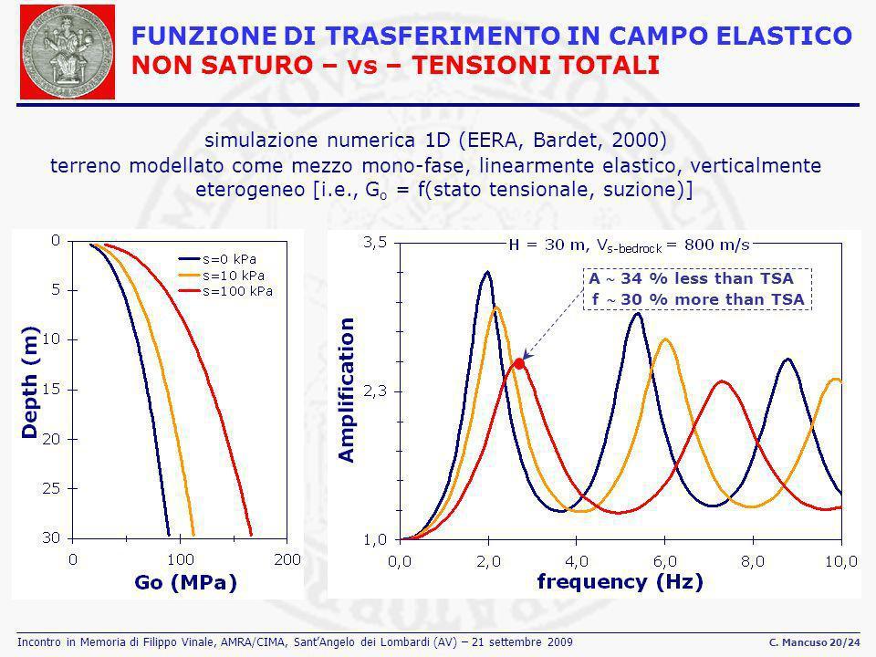 simulazione numerica 1D (EERA, Bardet, 2000)