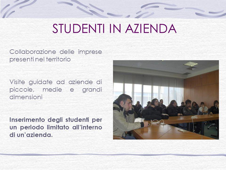 STUDENTI IN AZIENDA Collaborazione delle imprese presenti nel territorio. Visite guidate ad aziende di piccole, medie e grandi dimensioni.