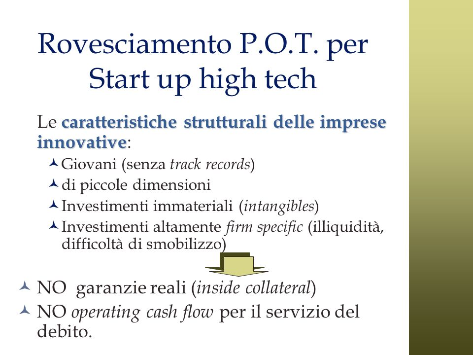Rovesciamento P.O.T. per Start up high tech