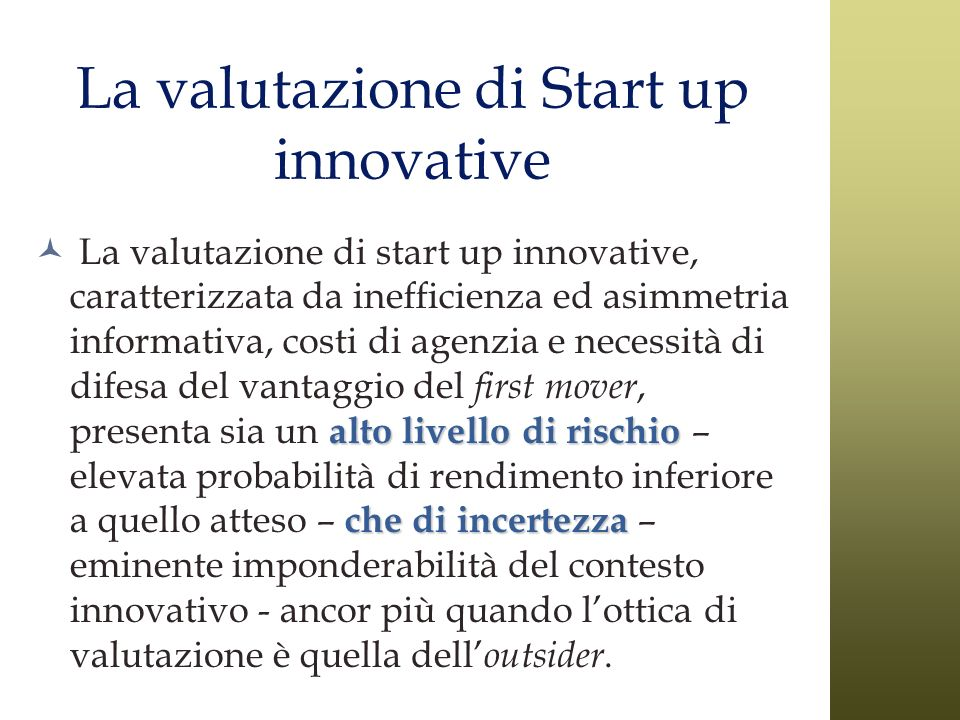 La valutazione di Start up innovative