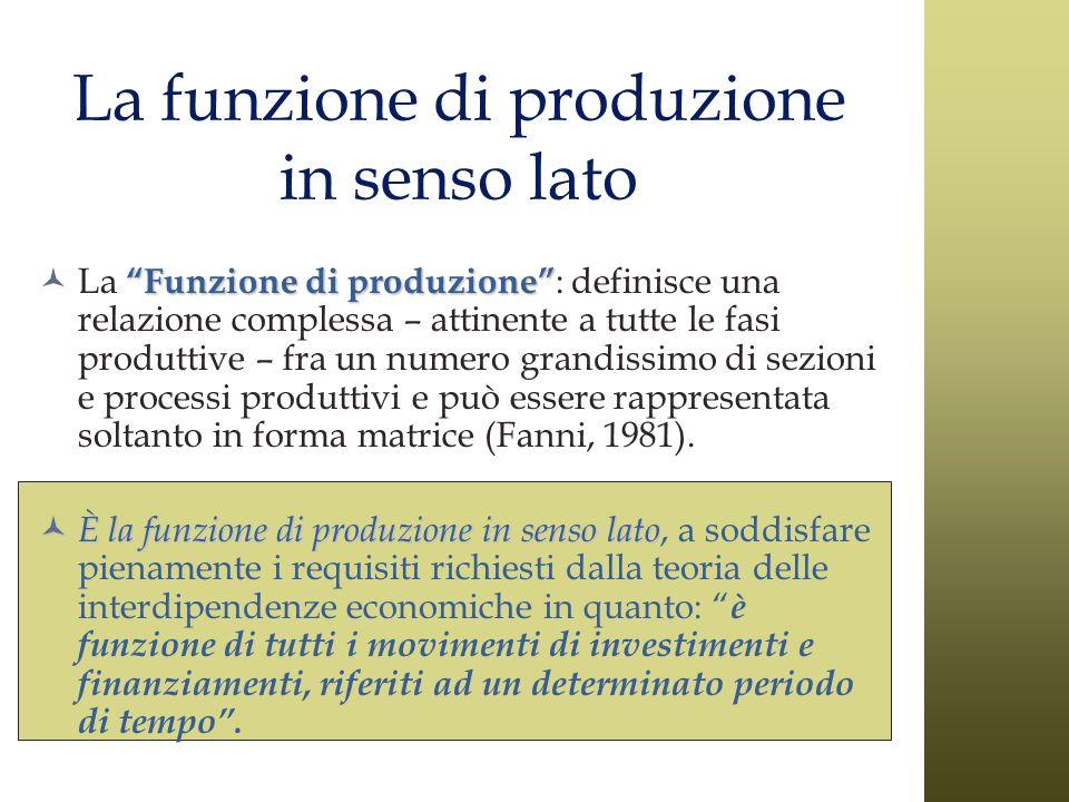La funzione di produzione in senso lato