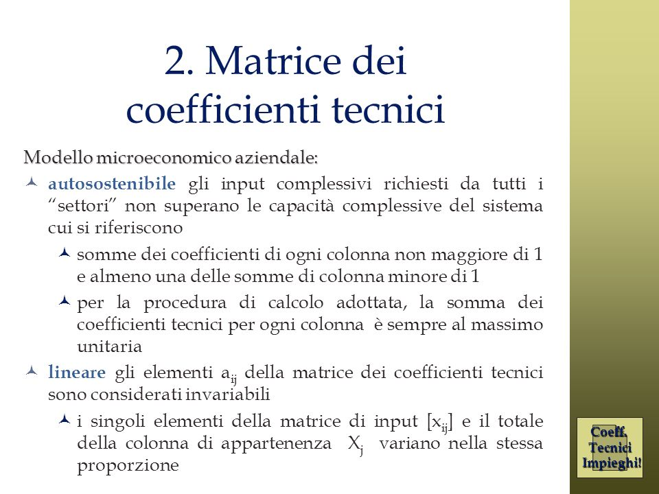 2. Matrice dei coefficienti tecnici