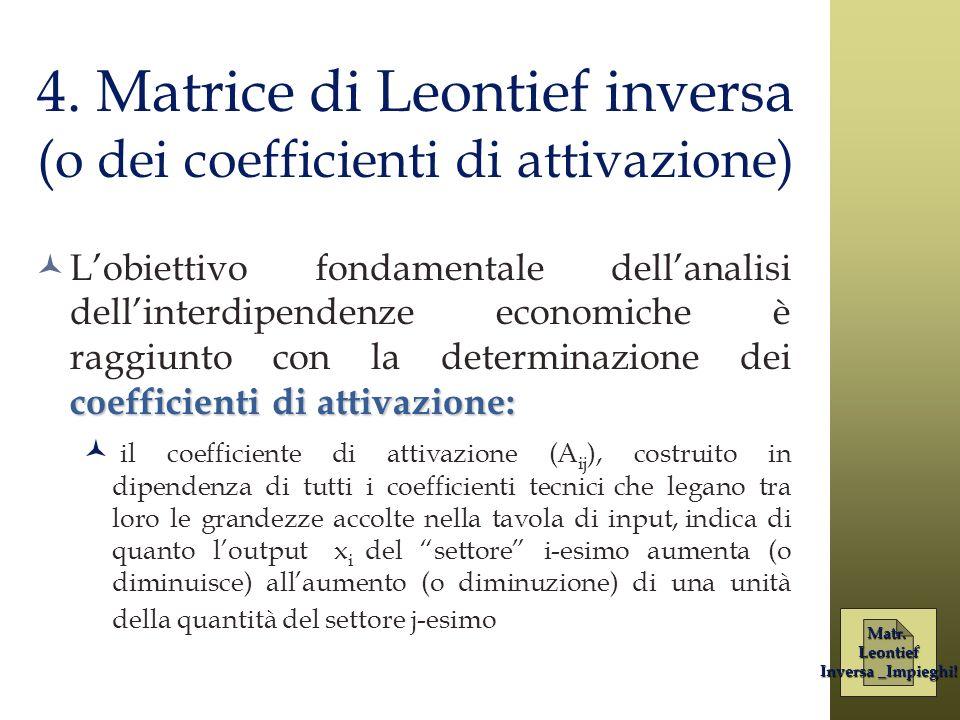 4. Matrice di Leontief inversa (o dei coefficienti di attivazione)