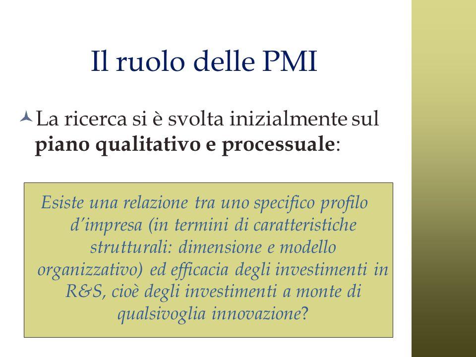 Il ruolo delle PMI La ricerca si è svolta inizialmente sul piano qualitativo e processuale: