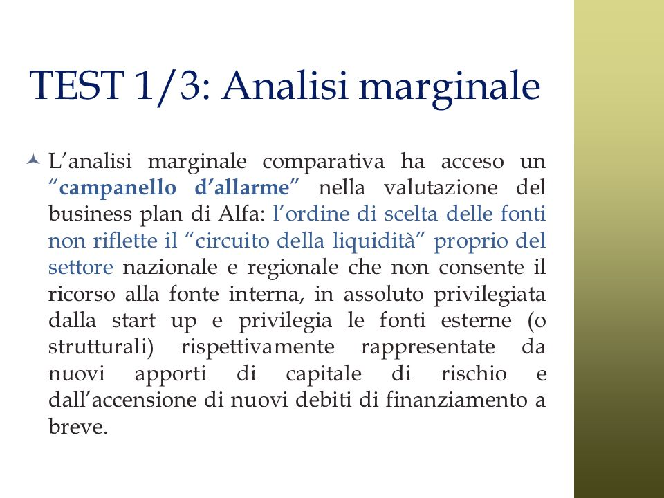 TEST 1/3: Analisi marginale