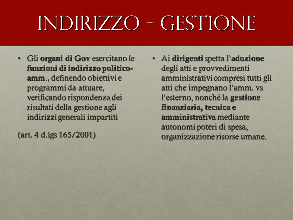 Indirizzo - gestione
