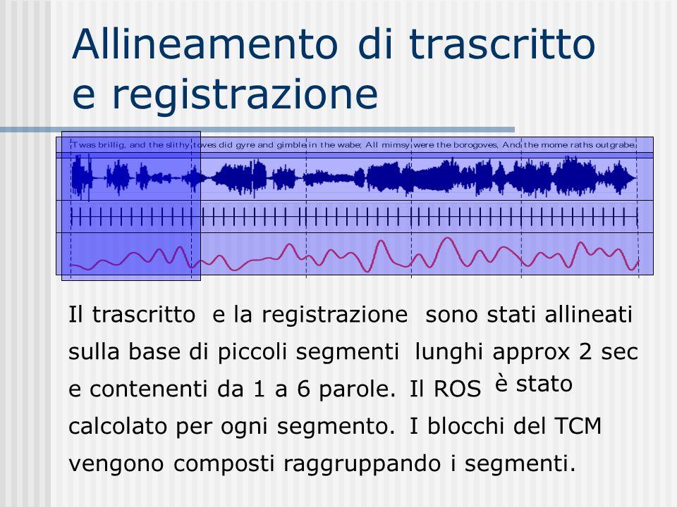 Allineamento di trascritto e registrazione