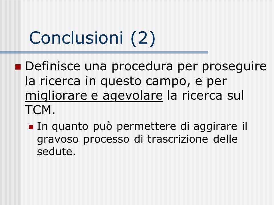 Conclusioni (2) Definisce una procedura per proseguire la ricerca in questo campo, e per migliorare e agevolare la ricerca sul TCM.