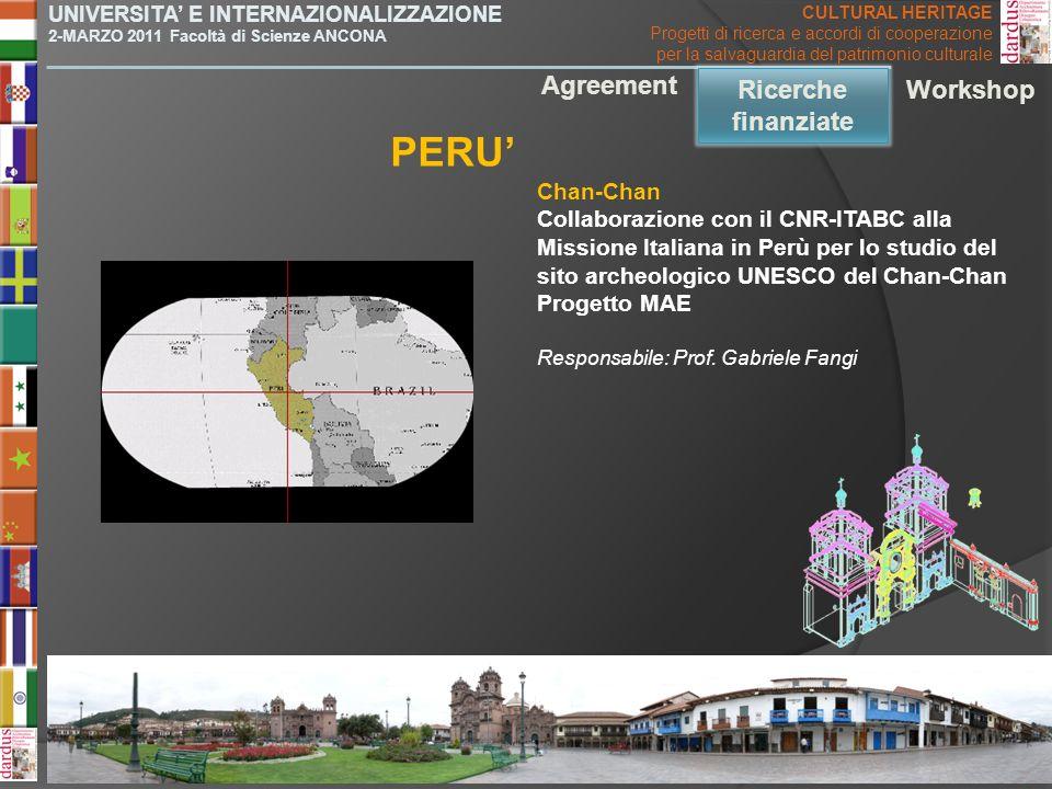 PERU' Agreement Ricerche finanziate Ricerche finanziate Workshop