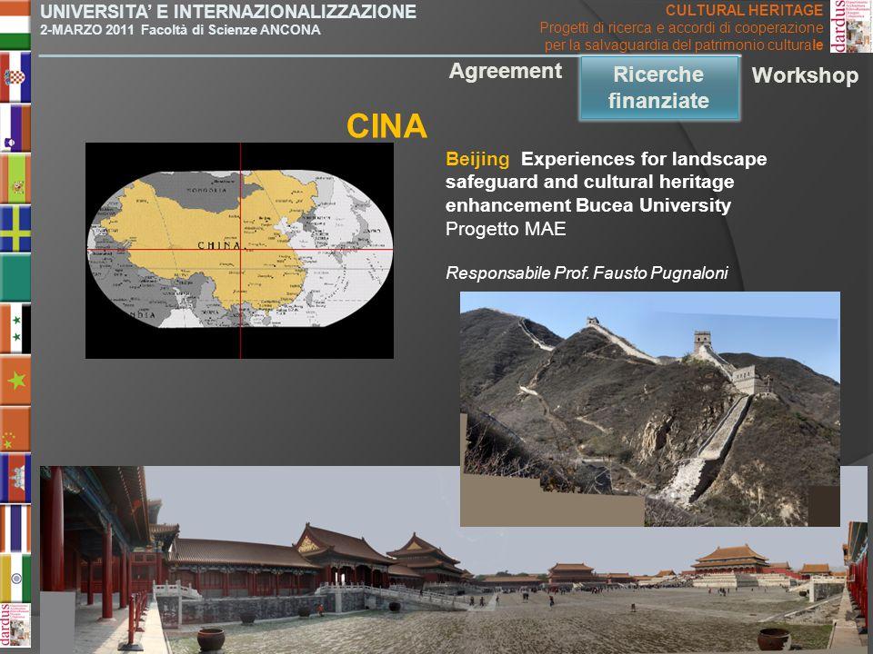 CINA Agreement Ricerche finanziate Ricerche finanziate Workshop