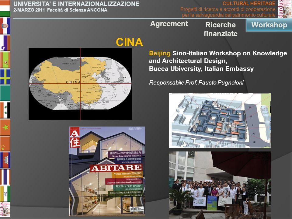 CINA Agreement Ricerche finanziate Workshop Workshop