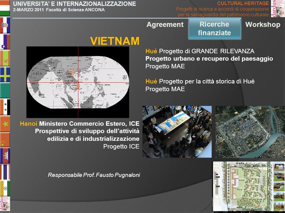 VIETNAM Agreement Ricerche finanziate Ricerche finanziate Workshop