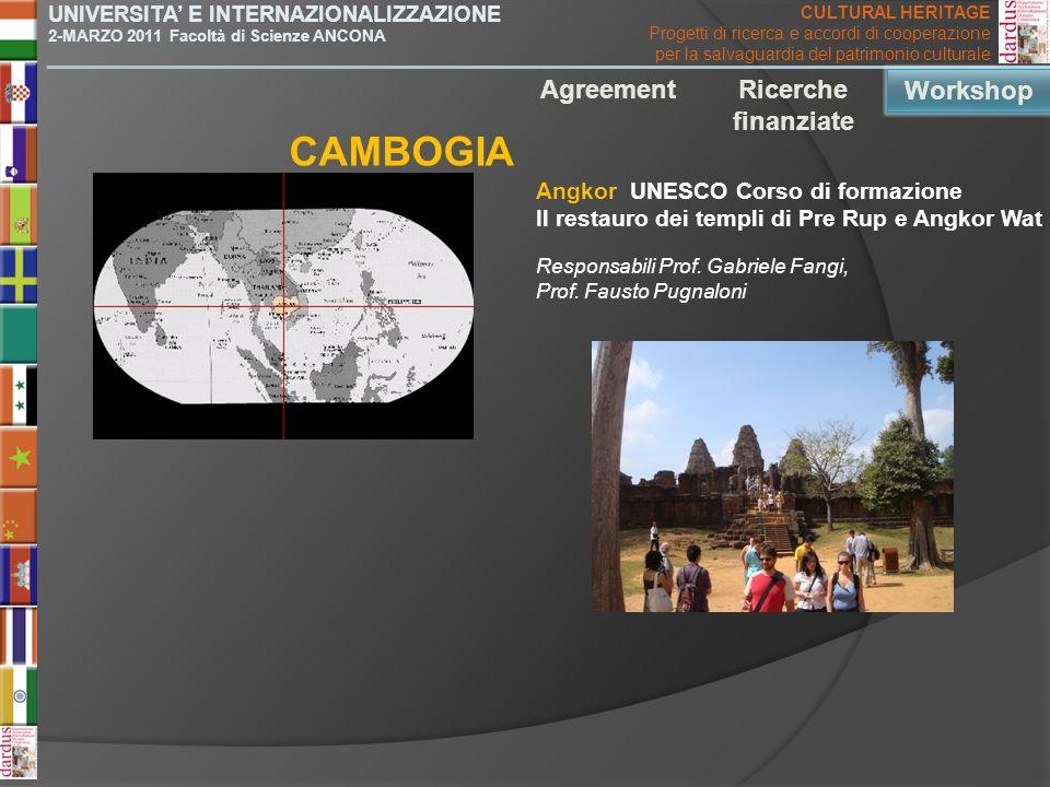 CAMBOGIA Agreement Ricerche finanziate Workshop