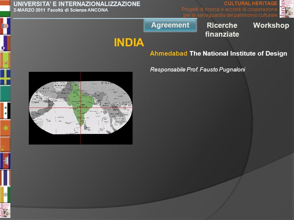 INDIA Agreement Agreement Ricerche finanziate Workshop