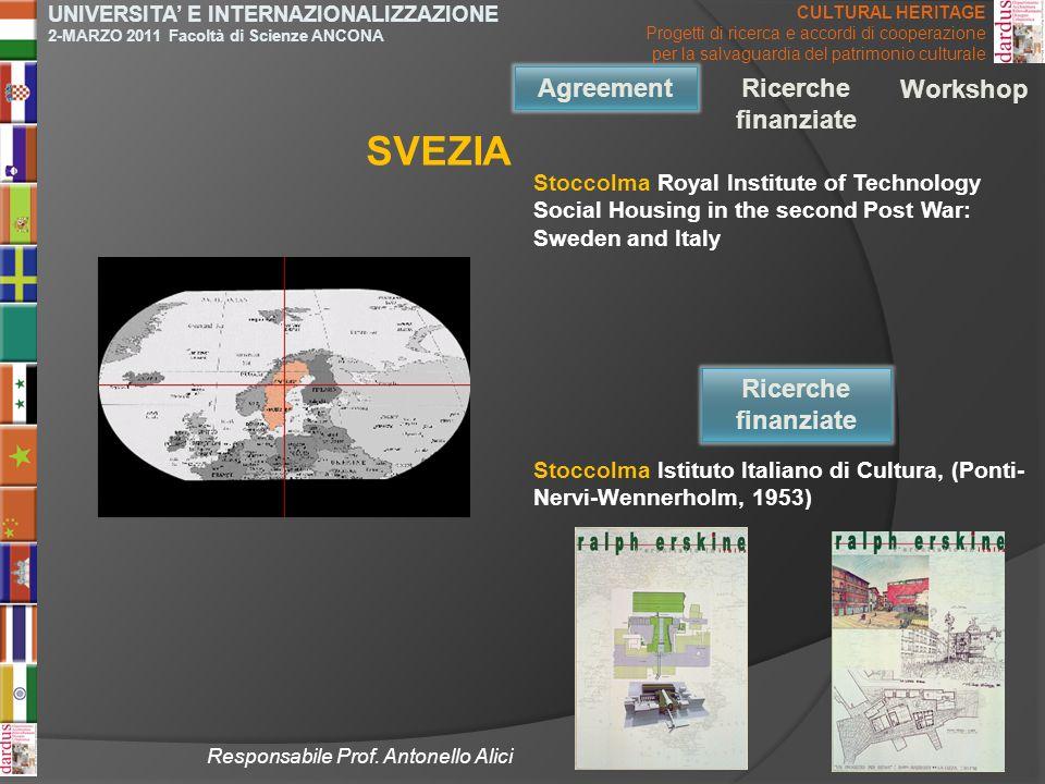 SVEZIA Agreement Agreement Ricerche finanziate Workshop Ricerche