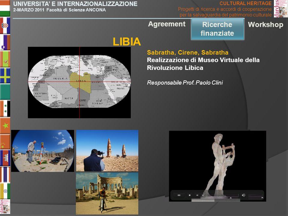 LIBIA Agreement Ricerche finanziate Ricerche finanziate Workshop