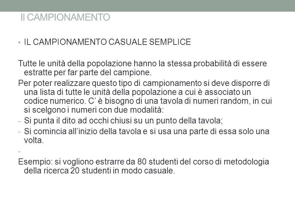 Il CAMPIONAMENTO IL CAMPIONAMENTO CASUALE SEMPLICE