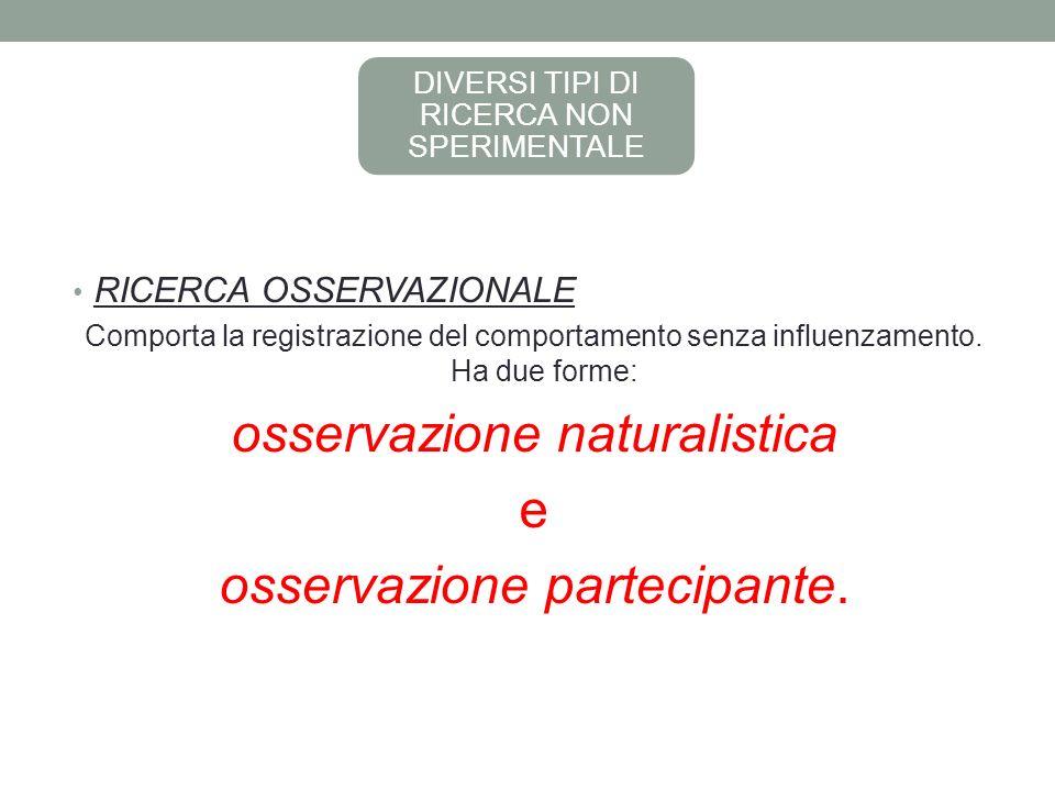 osservazione naturalistica e osservazione partecipante.