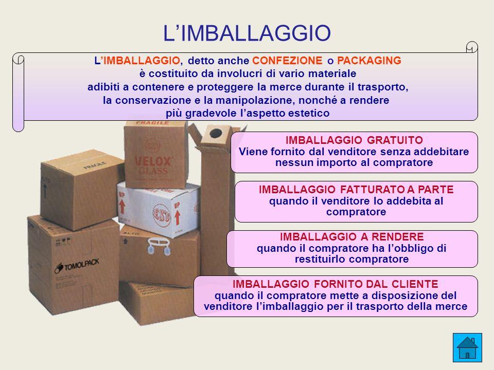 L'IMBALLAGGIO L'IMBALLAGGIO, detto anche CONFEZIONE o PACKAGING